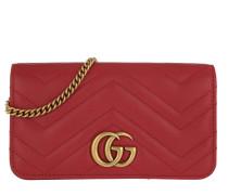 Umhängetasche GG Marmont Matelassé Super Mini Bag Leather Red rot