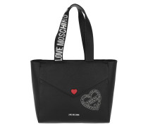 Borsa Saffiano Pu Heart Detailed Shopping Bag Nero