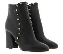 Rockstud Ankle Boot Calf Leather Black Schuhe