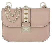 Rockstud Lock Shoulder Bag Small Leather Poudre Tasche rosa