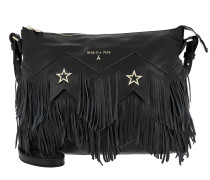 Fringed Shoulder Bag Black Hobo Bag