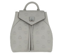 Rucksack Essential Monogrammed Leather Backpack Small Dove grau