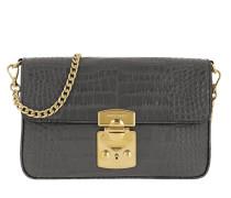 Umhängetasche Croco Print Bandoleer Bag Leather Mercurio