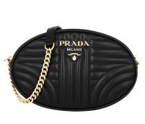 Umhängetasche Round Shoulder Bag Quilted Leather Black schwarz