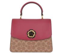 Satchel Bag Canvas Signature Parker Top Handle Tan Dusty Pink