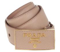 Gürtel Square Buckle Belt Leather Saffiano Cipria beige