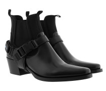 Boots Leather and Neoprene Ankle Boots Black schwarz