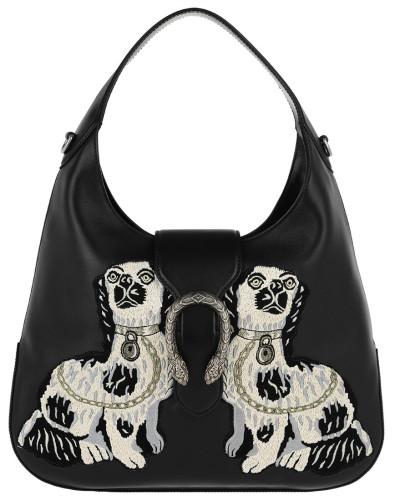 Dionysus Embroidered Large Hobo Bag Black Hobo Bag