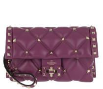Rockstud Studded Crossbody Bag Calf Leather Violet Clutch