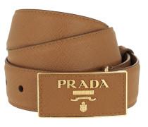 Gürtel Square Buckle Belt Leather Saffiano Caramel cognac