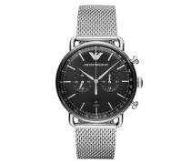 Uhr AR11104 Mens Dress Watch Black/Silver silber