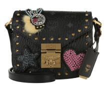 Patricia Embellished Visetos Shoulder Bag Black