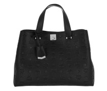 Signature Monogrammed Leather Tote Black Tote