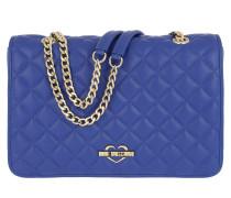 Borsa Nappa Pu Shoulder Bag Blu Umhängetasche