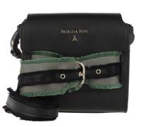 Leather Sholder Bag Fringed Tape Nero Tasche