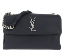 YSL Monogramme Shoulder Bag Grained Calf Leather Navy Satchel Bag