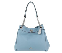 Tote Polished Pebble Leather Turnlock Edie Shoulder Bag Salte blau