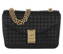 Umhängetasche C Bag Medium Quilted Calfskin Black schwarz