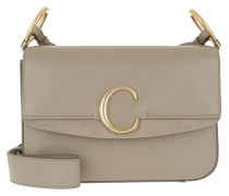 Umhängetasche C Double Crossbody Bag Leather Motty Grey beige