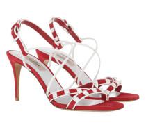 Free Rockstud Spike Sandals Leather Red Sandalen
