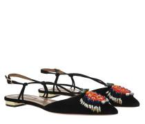 Ballerinas Ananas Summer Sandals Flat Suede Black schwarz
