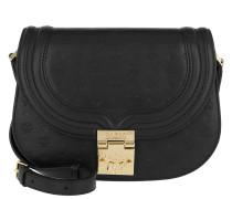Trisha Monogrammed Leather Small Shoulder Bag Black Tasche