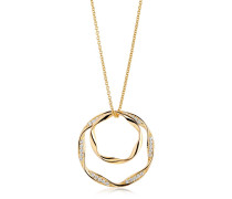 Halskette Cetara Due Grande Pendant White Zirconia 18K Gold Plated