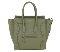 Tote Micro Luggage Bag Leather Light Khaki