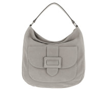 Hobo Bag Suede Shoulder Light Grey