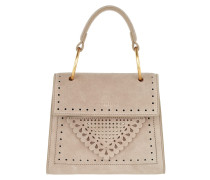Satchel Bag Lace Suede Handle Crossbody Bag Small Taupe beige