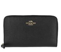 Portemonnaie Crossgrain Leather Medium Zip Around Wallet Black schwarz