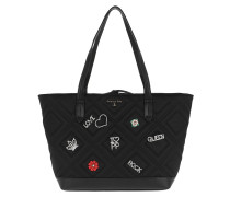 Quilted Shopping Bag Satin Black