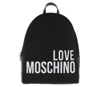 Canvas Embroidery Backpack Black Rucksack