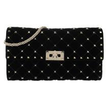 Rockstud Spike Clutch Velvet Black Tasche