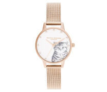 Uhr Women Quartz Watch Illustrated Animals Rosegold