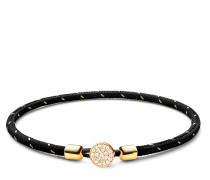 Armband Nexus Rope Bracelet Vermeil White Sapphire Polished S Black/Gold
