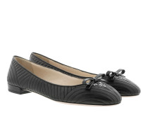 Quilted Bow Ballerina Black Ballerinas