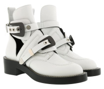 Ceinture Ankle Boots Leather White Schuhe