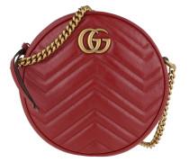 Umhängetasche GG Marmont Mini Round Shoulder Bag Leather Ceris rot