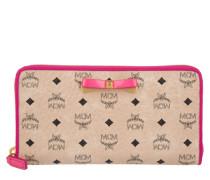 Kleinleder - Mina Visetos W-Z1 Large Zip Wallet Creme/Pink - in beige - Kleinleder für Damen