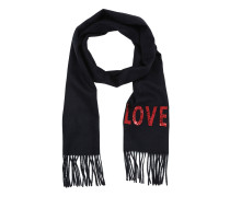Embroidered Love Scarf Blue Accessoire