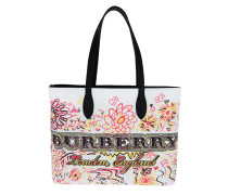Doodle Flowers Reversible Canvas Tote White Shopper weiß