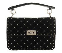 Rockstud Spike Shoulder Bag Velvet Black Tasche