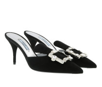 Crystal Buckle Mules Leather Nero Pumps