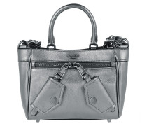 Quilted Metallic Shoulder Bag Silver Tote
