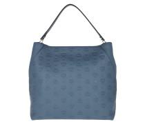 Klara Monogrammed Leather Hobo Large Luft Blue Hobo Bag