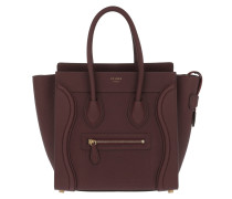 Micro Luggage Tote Leather Burgundy Tote rot