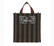 Tote Logo Handle Bag Stripes Canvas Brown braun