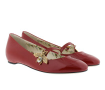 Patent Leather Ballet Flat With Bee Red Ballerinas