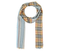 Accessoire Embroidered Wool Blend Scarf Pale Blue blau